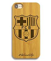 Деревянный чехол на Iphone 6 plus с лазерной гравировкой FC Barcelona