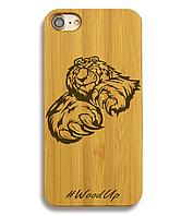 Деревянный чехол на Iphone 6 plus с лазерной гравировкой Ведмедь