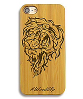 Деревянный чехол на Iphone 6 plus с лазерной гравировкой Лев-3