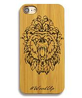 Деревянный чехол на Iphone 6 plus с лазерной гравировкой Ведмедь-2