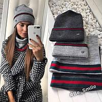 Женский комплект вязанная шапка и шарф-хомут (серый)
