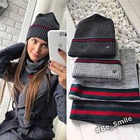 Женский комплект вязанная шапка и шарф-хомут (темно-серый)
