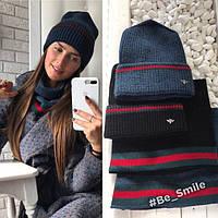 Женский комплект вязанная шапка и шарф-хомут (темно-синий)