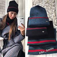 Женский комплект вязанная шапка и шарф-хомут (черный)