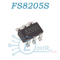 FS8205S, (8205S), Транзисторная сборка, 20V 6A DUAL N-Channel MOSFET, SOT23-6