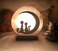 """Соляная лампа """"Котики на месяце"""", фото 1"""