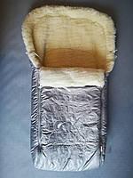 Конверт в санки на овчине Monty серебро