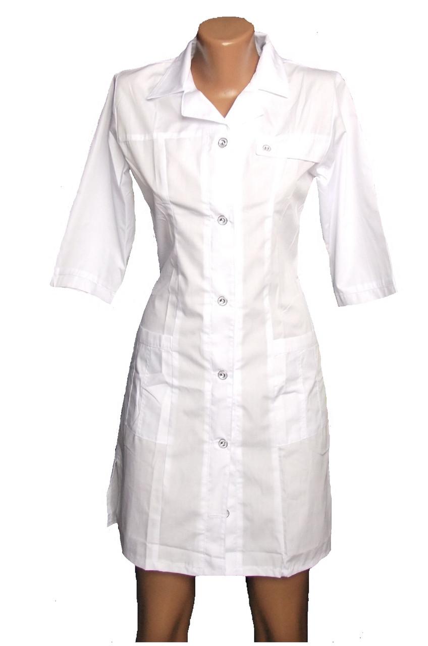 Медицинский халат на пуговицах р 40-48белый арт 6444 40