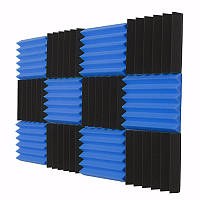 12 шт. Черная синяя пирамида Акустическая звукоизоляция Пеновая плитка Студийная панель 2 x12 x12