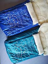 Чехол в санки для мальчиков на овчине синий, Monty, фото 2