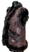 """Женская теплая натуральная жилетка """"NEBAT"""" коричневый цвет"""