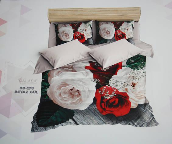 Постельное белье полуторное ALACA 3D Beyaz Gul, фото 2