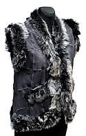 Жіноча тепла жилетка з натуральної шкіри і овечої вовни