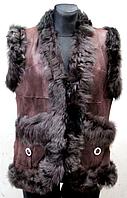 Жіночий жилет з натуральної шкіри і овечтей вовни Nebat