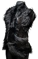 Жіноча тепла молодіжна жилетка з шкіри і овечої вовни
