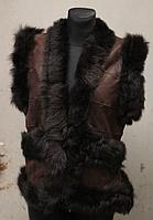 Жіноча тепла натуральна жилетка Nebat (шкіра, овчина)