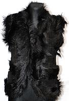 Теплая натуральная женская жилетка из кожи и овечьей шерсти