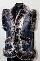 Тепла Жилетка з овечої вовни і натуральної шкіри синя