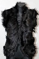Жилетка жіноча з шкіри і овечої вовни чорного забарвлення