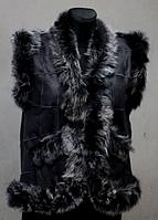 Жіноча тепла жилетка з шкіри і овечої вовни