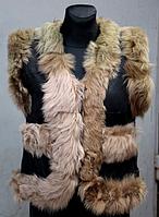 Жилетка жіноча з шкіри і овечої вовни - бежева узлісся