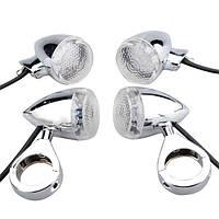 4шт Харли LED включите свет янтаря с 39мм вилка зажим серебро