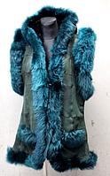 Жилет с капюшоном женский натуральный - зеленого цвета
