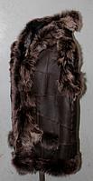 Натуральная женская жилетка с капюшоном