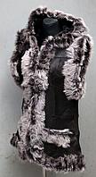 """Женская жилетка из овечьей шерсти и натуральной кожи """"Nebat"""""""