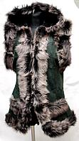 Жилетка теплая из овечьей шерсти и натуральной кожи