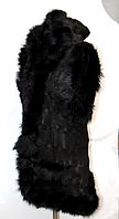 Жилетка теплая из овечьей шерсти и натуральной кожи с капюшоном