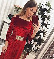 b1e91c07050 Платье Бархатное Зелёное Принтованное — в Категории