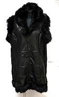 Женская натуральная жилетка с капюшоном - большие размеры
