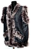 Безрукавка теплая из овечьей шерсти и натуральной кожи