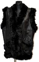Женская теплая натуральная безрукавка черного окраса