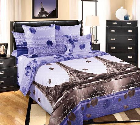 Полуторный комплект постельного белья (перкаль) Романтика Парижа с компаньоном, фото 2