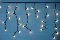 Уличная Гирлянда светодиодная бахрома 3м*0,5м белая теплая ( матовая лампочка )
