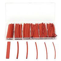 160пк 2:1 полиолефиновых безгалогенных красной термоусадочной трубки 6 размеров