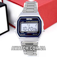 Мужские (Женские) кварцевые наручные часы Skmei 1123 Old School silver, серебристого цвета