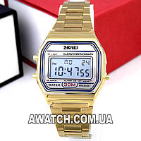 Мужские (Женские) кварцевые наручные часы Skmei 1123 Old School gold, золотого цвета