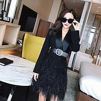 Брендовое дизайнерское черное женское платье пиджак с перьями и поясом