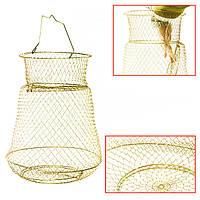 Складная Золотая проволока стальная рыбная ловля горшок вентерь краб клетка