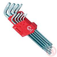 Набор Г-образных ключей TORX с отверстием 9 шт, Т10-Т50