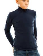 Гольф (водолазка) подростковый, на флисе, темно-синий