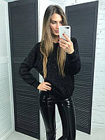 Женский модный черный свитшот травка, фото 1