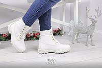 Женские белые ботинки экокожа Зима Венгрия
