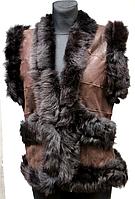 Жіноча тепла натуральна жилетка - коричневий колір