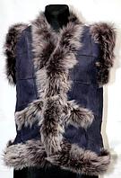 Женская молодежная натуральная жилетка Nebat - овчина и кожа