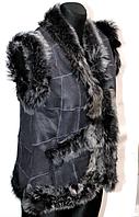 Женская натуральная жилетка Nebat кожа и овчина