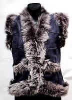 Жіноча молодіжна натуральна жилетка Nebat - сіре опушення